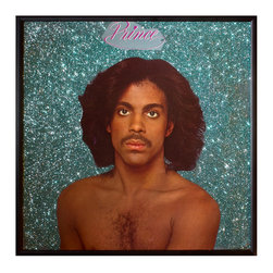 """Glittered Prince Album - Glittered record album. Album is framed in a black 12x12"""" square frame with front and back cover and clips holding the record in place on the back. Album covers are original vintage covers."""