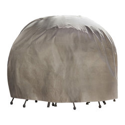 """Duck Covers 90"""" Dia Round Patio Table and Chairs Cover including Inflatable Airb - Patio Table & Chair Set Cover - Round - Actual Size - 90"""" Dia X 29"""" H"""