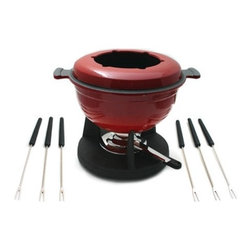 "Swissmar - Lucerne 10 Piece Meat Fondue Set in Red - It is fondue time. Sit around the table with family and friends and enjoy a meat fondue with this enameled cast iron set. This set is best suited for meat fondues but by removing the spatter guard you can make cheese or chocolate fondue too. Also great for serving one pot meals such as chili and hearty soups. The set includes: -Red Pot. -Spatter Guard. -Rechaud. -6 Meat Fondue Forks. -Dual Function Burner. Features: -Best suited for meat fondues but can be used for cheese or chocolate fondues. -Enamelled inside and provides even heat distribution. -Works equally well at low temperatures. Specifications: -Dimensions: 8"" H x 8.5"" W. -Capacity: 64 oz.. -Material: Cast Iron."
