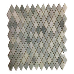 """Marbleville - Ming Green Dimaond Polished Marble Mosaic in 12"""" x 12"""" Sheet - Premium Grade Ming Green Diamond Pattern Polished Finish Mesh-Mounted Marble Mosaic is a splendid Tile to add to your decor. Its aesthetically pleasing look can add great value to any ambience. This Mosaic Tile is made from selected natural stone material. The tile is manufactured to high standard, each tile is hand selected to ensure quality. It is perfect for any interior projects such as kitchen backsplash, bathroom flooring, shower surround, dining room, entryway, corridor, balcony, spa, pool, etc."""