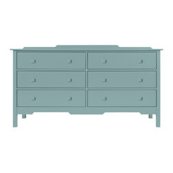 Bay Double Dresser - Simple architectural lines make the Bay Dresser Collection becoming companions to your bedroom and sensible, attractive places to put things away. The Bay Double Dresser offers you maximum clothing storage capacity. Six... count them.... six drawers! Available in an amazing array of Maine Cottage® coastal color choices.