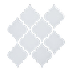 Arabesque Glass Tile  Water Jet Series - Bright White -