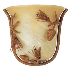 Maxim Lighting - Maxim Lighting 20708AVPT Pine Grove 1-Light Wall Sconce in Pine Tree - Faux pine branches in Pine Tree Finish with Amber Vanilla glass bring the forest home.