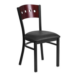 Flash Furniture - Hercules Back Metal Restaurant Chair - Heavy Duty Metal Restaurant Chair. Mahogany Wood Square Style Back. Black Vinyl Upholstered Seat. 2.5 in.Thick 1.4 Density Foam Padded Seat. 18 Gauge Steel Frame. Welded Joint Assembly. Curved Support Bar. Black Powder Coated Frame Finish. Plastic Floor Glides. CA117 Fire Retardant Foam. Designed for Commercial Use; Suitable for Home Use. Seat-Size: 16.5 in. W x 16.75 in. D. Back Size: 16 in. W x 15.25 in. H. Seat Height: 19.5 in. H. Overall Dimension: 17 in. W x 21 in. D x 32 in. H (17 lbs)Provide your customers with the ultimate dining experience by offering great food, service and attractive furnishings. This heavy duty commercial metal chair is ideal for Restaurants, Hotels, Bars, Lounges, and in the Home. Whether you are setting up a new facility or in need of a upgrade this attractive chair will complement any environment. This metal chair is lightweight and will make it easy to move around. For added comfort this chair is comfortably padded in vinyl upholstery. This easy to clean chair will complement any environment to fill the void in your decor.