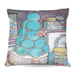 DiaNoche Designs - Pillow Woven Poplin - Diana Evans Laduree Macaroons Spring in Paris - Toss this decorative pillow on any bed, sofa or chair, and add personality to your chic and stylish decor. Lay your head against your new art and relax! Made of woven Poly-Poplin.  Includes a cushy supportive pillow insert, zipped inside. Dye Sublimation printing adheres the ink to the material for long life and durability. Double Sided Print, Machine Washable, Product may vary slightly from image.