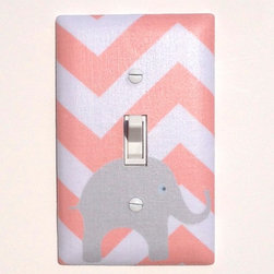 Elephant Nursery - Handmade light switch plates are a fun and creative way to add the perfect finishing touch to your child's room or baby nursery!  This light switch plate features an adorable gray elephant on a peachy pink chevron background!
