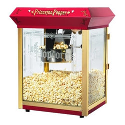 """Great Northern Popcorn - Princeton 8 Ounce Bar Style Antique Popcorn Machine - Features: -Popcorn machine.-Tempered Glass .-Warming Deck.-Built-in warmer light.-Reject kernel tray.-Can be cleaned with water.-Makes roughly three gallons of popcorn per batch.-Three switch design.-All metal gearbox.-Heavy-duty.-Commercial quality and certified.-Switches include: Spot light warmer, stirrer and pot heater.-Kernel and oil scoop are included.-Popcorn scoop is included.-Powder coated steel and stainless steel construction.-Red finish.-Product Type: Theater style machine.-Color: Red.-Distressed: No.-Powder Coated Finish: No.-Gloss Finish: No.-Material: Metal -Material Details: Steel..-Non-Stick Surface: No.-Run Time: 3-5 Minutes.-Warmer Light: Yes.-Tempered Glass: Yes.-Wheels: No.-Wattage: 860 W.-Voltage: 110 V.-Kettle Included: Yes -Kettle Material: Steel.-Pivoting Kettle: Yes.-Removable Kettle: Yes.-Kettle Capacity: 8 oz..-Bags/Buckets Included: Yes -Number of Bags/Buckets: 28.-Bag/Bucket Material: Paper; Plastic.-Bag/Bucket Capacity: 60 oz..-Scoop Included: Yes -Measuring Scoop: No..-Measuring Spoon Included: Yes.-Built In Stirring System: Yes.-Warming Deck: Yes.-Supply Storage: No.-Reject Kernel Tray: Yes.-Commercial Use: Yes.Specifications: -Works on standard 110 volt/860 watts.-ETL Certified: Yes.Dimensions: -Overall Height - Top to Bottom: 24.75"""".-Overall Width - Side to Side: 20.5"""".-Overall Depth - Front to Back: 17.5"""".-Overall Product Weight: 45 lbs.Assembly: -Assembly Required: Yes.-Additional Parts Required: No.Warranty: -Product Warranty: 5 years for parts / 30 days for kettles and bulbs."""