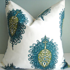 16x16 Designer Pillow In Aqua / Green By by simplydivinebyjoann
