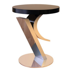 Sheres - Cosmopolitan Lamp Table - Sophisticated original sculpture in stainless steel. Black lacquer top appears to float in the air.