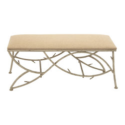 Luxuriously Crafted Metal Wood Fabric Bench - Description:
