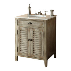 "Cottage look Abbeville Bathroom Sink vanity 23"" - The plantation-inspired look of this cottage-style sink cabinet will add casual elegance to any bathroom decor. With shutter-style doors and faux finish, this bathroom vanity offers a look that will create a relaxing retreat in any home."