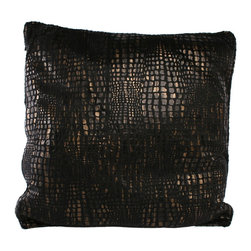 Brandi Renee Design - Mozambique Animal Black Print Pillow - Our charcoal black animal print pillow design has vibrant hues of dark black, bronze and a soft touch of gold and its amazingly soft and comfy feel never fails to draw to your attention. This croc pillow shouts luxurious and adds that extra touch of fashion to any room.