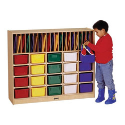 Jonti-Craft - Kydz Classroom Organizer Multicolor - 0418JC - Shop for Childrens Toy Boxes and Storage from Hayneedle.com! At Jonti-Craft people understand the importance of developing neatness at an early age. The Kydz Classroom Organizer is built around patented features which make it unlike ordinary storage cubbies. It uses fun combined with function to teach children important organization skills. The line of mobile cubbies is supported by four smooth-rolling casters mounted on specially engineered corner brackets for extra reinforcement. A protective kick plate prevents small objects from getting lost underneath where tiny fingers and toes could be exposed to injury. Cubbie holes are 8.75W x 14D x 5.5H inches. Each of the Jonti-Craft individual storage tubs is light durable and easy to pull. The cabinet is available with your choice of multi-colored tubs clear tubs or no tubs for open cubbies. The KYDZ Tuff finish won't stain or yellow and is made of the same scratch-resistant protection used on gymnasium floors. The storage cubbie itself is constructed using superior dowel-pin construction with all edges fully rounded for maximum safety. Located in Wabasso Minn. Jonti-Craft is the leading manufacturer of quality learning products for children. Carefully designed birch wood material patented KYDZ products and Rainbow Accents thermo-fused laminates ensure that every item of furniture bearing the Jonti-Craft name is built and guaranteed for life. Employing only the strongest construction techniques as well as rounding and protecting all edges and corners Jonti-Craft maintains the highest safety standards. Commitment to building safe high-quality sustainable furniture for the children of the world continues to make the Jonti-Craft difference.