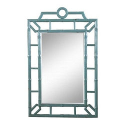 Faux Bamboo Mirror Aqua Crackle - This faux bamboo pagoda mirror has an aqua crackle finish. Use it in a living room, dining room or entryway.