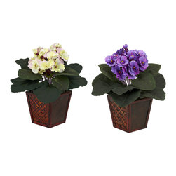 Nearly Natural - African Violet w/Vase Silk Plant (Set of 2) - You'll get twice the beauty with this eye-catching pair of supple African Violets. With a bold, lush bed of green leaves set atop a decorative wood planter, these colorful blooms bring a ray of African sunshine into any room. Place them on either side of a desk or bookcase, or split them up if you wish and brighten up two rooms at once!
