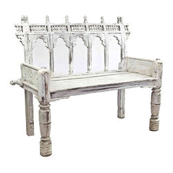 "Pre-owned Vintage White Provincial Pony Bench - Captivating Mid-20th century seating piece, referred to as a ""pony bench"" due to its intricate carvings and unique shape.   Restored with an aged white finish. Seat height is 18""."