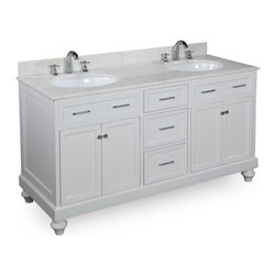 Kitchen Bath Collection - Amelia 60-in Double Sink Bath Vanity (White/White) - This bathroom vanity set by Kitchen Bath Collection includes a white cabinet, soft close drawers, self-closing door hinges, white marble countertop with stunning beveled edges, double undermount ceramic sinks, pop-up drains, and P-traps. Order now and we will include the pictured three-hole faucets and a matching backsplash as a free gift! All vanities come fully assembled by the manufacturer, with countertop & sink pre-installed.