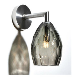 Bel Vitro - Faceted Wall Sconce - This is the wall sconce version of our sparkling faceted pendant! This gray glass sconce is also available in other colors, call for more information. Hand crafted in the USA.�