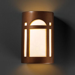 Justice Design Group - Ambiance Antique Copper Large Arch Window Two-Light Bathroom Wall Sconce - - Large Arch Window Open Top and Bottom Wall Sconce.  - Shade Material - Ceramic  - Shade is made in the USA; canopy and socket(s) are imported Justice Design Group - CER7395ANTC