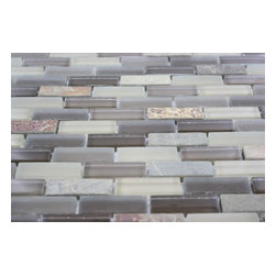 """Geological Brick Multicolor Slate & Khaki Blend Glass Tiles - sample- GEOLOGICAL BRICK MULTICOLOR SLATE & KHAKI BLEND GLASS TILES 1/2X2 sample SAMPLE You are purchasing a 1/4 sheet sample measuring approximately 3 """" x 12 """". Samples are intended for color comparison purposes, not installation purposes. -Glass Tile -"""