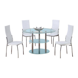 Global Furniture USA - D79DT + D475DC Frosted Round Glass & White Vinyl Five Piece Dining Set - The D79DT + DB841DC dining table will fit perfectly into any dining space and goes well with any decor. This table has a unique design with a three tiered setup for extra storage area. It features frosted glass detailing with chrome metal tube legs for support. Each chair comes upholstered in a white PVC material and has a high back design.