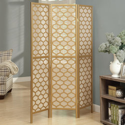 Monarch - Gold Frame 3 Panel Lantern Design Folding Screen - A hand constructed screen with gold honeycomb cut overlays with a tightly woven rice paper screen. Tight weave allows little light to pass through, as well as reinforces the kiln-dried wood frames, creating a portable but sturdy screen. Use as a partition, privacy screen or decorative background in the home or office.