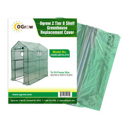 "oGrow - 2 Tier 8 Shelf Greenhouse PE Replacement Cover - Don't let the damage of your greenhouse cover mean that you have to buy a whole new greenhouse. Ogrow Heavy duty reinforced green polyethylene replacement cover will enable you to continue your plantings in no time! UV protected cover with zips for easy access and ventilation. Complete with Hook and Loop connection for greater stability when attached to wall. Fits for Greenhouse frame size 49.2""W X 74""D X 74.8""H"