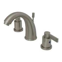 """Kingston Brass - Two Handle 8"""" to 16"""" Widespread Lavatory Faucet with Brass Pop-up KB8988NDL - This two handle bathroom faucet is constructed of high quality brass to ensure reliability and durability. Its premier finish resists tarnishing and corrosion. A matching pop-up drain is included and constructed of solid brass. All mounting hardware is included and standard US plumbing connections are used.. Manufacturer: Kingston Brass. Model: KB8988NDL. UPC: 663370119576. Product Name: Two Handle 8"""" to 16"""" Widespread Lavatory Faucet with Brass Pop-up. Collection / Series: NuVo Fusion. Finish: Satin Nickel. Theme: Contemporary / Modern. Material: Brass. Type: Faucet. Features: Matching brass pop-up drain included"""