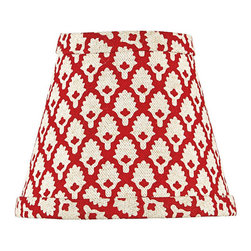 Ballard Designs - Gillian Chandelier Shade - Coordinates with our Gillian Fabric-by-the-yard. Fun palm geometric print. Our Gillian Red Chandelier Shade is a quick, easy way to add a pop of bold red color to your room. This classic shade is hand finished in cotton blend. Gillian Red Chandelier Shade features: . .