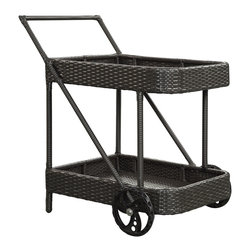 LexMod - Replenish Outdoor Rattan Beverage Cart - Roll out the refreshments and let your company take care of the rest. Replenish is a functionally vital and welcome addition to your outdoor space. Made of the same rattan type material as our outdoor sets, tables and chairs, its an element you wont want to do without. Stock Replenishes two storage areas with some splendid food and drinks, and roll it to your outdoor furniture selection of choice.
