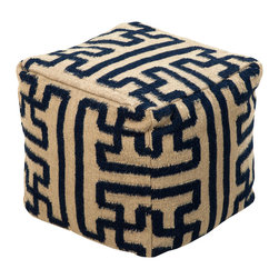 """Surya - Surya Maze Mossy Gold/Black Pouf - A tribal-inspired maze wraps around the square shape of this statement-making pouf. As an ottoman or extra seat, this bold design adds a jolt of excitement to a sitting area or bedroom. 18"""" Sq. 100% wool. Mossy gold and dark slate blue."""