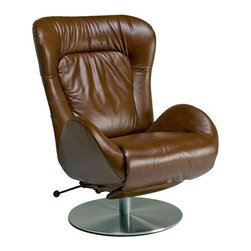 Lafer - Lafer Amy Recliner Chair, Cognac - Amy Recliner Chair is beautifully upholstered with leather and executive styling. Amy Recliner Chair offers ergonomic and generous spacing with adjustable features. Amy chair has a height adjustable base to fit everyone's needs.
