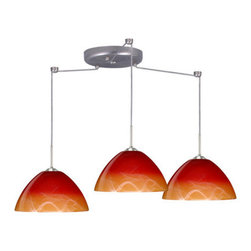 Besa Lighting - Besa Lighting 3JC-4201SL-LED Tessa 3 Light LED Cord-Hung Pendant - Tessa has a classical bell shape that complements aesthetic, while also built for optimal illumination. Our Solare glass is a pressed glass that features swirls of white throughout clear glass, which then is colored with a translucent mix of red-orange to yellow. This decor is classic and can be used in various ways. When lit this gives off a light that is functional and soothing. The smooth satin finish on the clear outer layer is a result of an extensive etching process. This handcrafted glass uses a process where every glass is consistently produced using a press mold, keeping variations to a minimum. The cord pendant fixture is equipped with three (3) 10' SVT cordsets and a 3-light round canopy, three (3) suspension stemhooks included.Features: