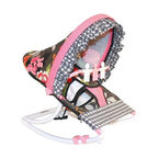 Hoohobbers Baby Rocker - Sleek Slate - For little girls who like pretty flowers and mom's who appreciate fun prints the Hoohobbers Baby Rocker - Sleek Slate is the perfect item for them to cuddle up in. The beautiful baby rocker's frame is made from virtually indestructible solid polypropylene with a full hood made from removable fabric with bright pink flowers on a slate-gray field accented with wavy pink and black crosscheck fabrics. It swings gently from front to back and a quick rotation of the stabilizer feet will adjust the range of motion. This rocker is water-resistant and perfect for use outdoors since there are no metal parts. The removable toy bar will divert your child with its white and pink spinning characters. The Hoohobbers Baby Rocker - Sleek Slate folds up to a slim 5 inches for easy portability and it's simple to assemble with the snap-together pieces. All fabric is machine-washable. Includes 1-year warranty. Weight capacity: 25 pounds. Sling dimensions: 14W x 24D inches.About HoohobbersBased in Chicago Hoohobbers has designed and manufactured its own line of products since 1981 beginning with the now-classic junior director's chair. Hoohobbers makes both hard goods (furniture) and soft goods. Hoohobbers' hard goods are not your typical furniture products; they fold are lightweight and portable and are made to be carried by children all around the house. Even outdoors Hoohobbers' hard goods are 100 percent water-safe. At the same time they are plenty durable and can take the abuse children often give. Hoohobbers' soft goods are fabric items ranging from bibs to bedding from art smocks to Moses baskets.Hoohobbers' products are recognized by independent third parties for their quality and performance. Hoohobbers has received Best Design Awards from America's Juvenile Products Association each time selected from more than 20 000 products. Hoohobbers has also received the Parents' Choice Award and no Hoohobbers product has ever been subject to consume