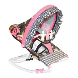 Hoohobbers Baby Rocker - Sleek Slate - For little girls who like pretty flowers and mom's who appreciate fun prints the Hoohobbers Baby Rocker - Sleek Slate is the perfect item for them to cuddle up in. The beautiful baby rocker's frame is made from virtually indestructible solid polypropylene with a full hood made from removable fabric with bright pink flowers on a slate-gray field accented with wavy pink and black crosscheck fabrics. It swings gently from front to back and a quick rotation of the stabilizer feet will adjust the range of motion. This rocker is water-resistant and perfect for use outdoors since there are no metal parts. The removable toy bar will divert your child with its white and pink spinning characters. The Hoohobbers Baby Rocker - Sleek Slate folds up to a slim 5 inches for easy portability and it's simple to assemble with the snap-together pieces. All fabric is machine-washable. Includes 1-year warranty. Weight capacity: 25 pounds. Sling dimensions: 14W x 24D inches.About HoohobbersBased in Chicago Hoohobbers has designed and manufactured its own line of products since 1981 beginning with the now-classic junior director's chair. Hoohobbers makes both hard goods (furniture) and soft goods. Hoohobbers' hard goods are not your typical furniture products; they fold are lightweight and portable and are made to be carried by children all around the house. Even outdoors Hoohobbers' hard goods are 100 percent water-safe. At the same time they are plenty durable and can take the abuse children often give. Hoohobbers' soft goods are fabric items ranging from bibs to bedding from art smocks to Moses baskets.Hoohobbers' products are recognized by independent third parties for their quality and performance. Hoohobbers has received Best Design Awards from America's Juvenile Products Association each time selected from more than 20 000 products. Hoohobbers has also received the Parents' Choice Award and no Hoohobbers product has ever been subject to consumer recall. Furthermore the company's products are often featured in leading women's and children's publications.