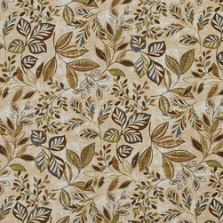 Brown Green And Blue Floral Leaf Indoor Outdoor Upholstery Fabric By The Yard - This upholstery grade fabric can be used for all indoor and outdoor applications. It is Scotchgarded, and is mildew, fade, water, and bacteria resistant. This fabric is made in America!