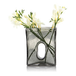 Smoky Square Vase - Consider this the perfect vase. Here's why: Your fresh-from-the-farmer's-market flowers will always fall perfectly in this smoky glass vessel. It's made from three pounds of sturdy glass, so this is one vase you'll never have to worry about tipping over.