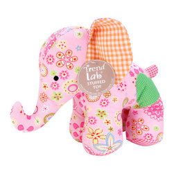 """Trend Lab - Stuffed Toy - Sherbet Elephant - Welcome baby with this adorable Sherbet Patchwork Elephant Stuffed Toy by Trend Lab. This endearing patched elephant is made from soft cotton and is embellished with embroidery. Stuffed elephant prints include: a pink sherbet floral print featuring shades of summer green, paradise pink and yellow with touches of raspberry; a summer green and white mini dot print; and two gingham prints in orange peel and paradise pink. Elephant stands approximately 10"""" tall. Elephant Stuffed Toy coordinates with the Sherbet Collection by Trend Lab."""