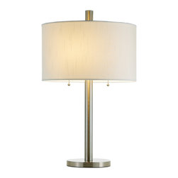 """Adesso Inc. - Boulevard Table Lamp - Each Boulevard lamp has a chunky satin steel pole and flat round base, with a white silk-like fabric drum shade and matching finial. Double sockets each have a ball-accented on/off pull chain switch. 2 x 100 Watt incandescent or 26 Watt CFL bulbs. 28"""" Height, 8"""" Base.  Shade: 10"""" Height, 17"""" Diameter"""