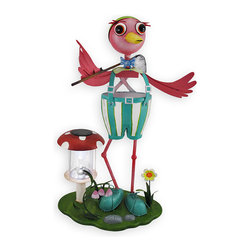 Zeckos - Metal Golfer Bird Garden Sculpture with Solar Light - Add a delightful accent to your lawn or garden with this golfing bird solar light sculpture. Made of metal and hand painted, it measures 22 1/2 inches tall, 13 3/4 inches long, and 9 1/2 inches wide. As light fades from the sky, the solar charged LED brightens your garden. This piece makes a great housewarming gift that is sure to be admired year after year.