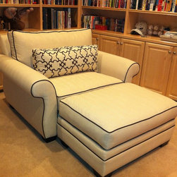 Republic Chair and a half and ottoman - Carrie Vose designed this oversized chair and ottoman for another happy client.