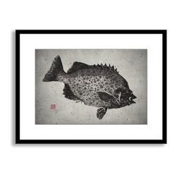 Gallery Direct - Dwight Hwang's 'Spotted Knifejaw' Framed Paper Art, 20x16 - A nod to the traditional Japanese art of gyotaku, meant as a way to record a proud catch for fishermen, this print captures delicate detail of the actual fish. This striking print comes framed and matted with a three inch white mat. The perfect way to add character, depth and value to your room, it is printed using the highest quality materials. Arrives ready to hang.