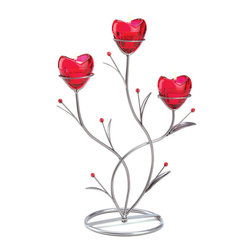 KOOLEKOO - Heart Bouquet Candleholder - Twining satin-silver stems form a stylish base of botanical beauty. When its ruby glass heart-shaped cups are lit from within, this divine vine-design candleholder is utterly aglow with romance!