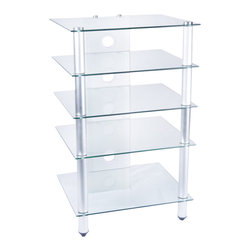 Tier One Designs - Clear Glass TV Stand-Audio Rack - 8mm tempered clear glass. Easy to assemble. 24 in. W x 20.25 in. L x 39.5 in. H. Accommodates 25 in flat panel TV. Assembly instructionsOrganize your high tech, state of the art home electronics gear with this refined polished aluminum TV Stand.  Stand features five tempered 8mm clear glass shelves providing ample space to store audio and gaming components, DVD, docking stations and much more.  The cord management system reduces unsightly wires. Accessories not included.