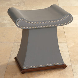 """Global Views - Global Views Grey Sultan Bench - The gray Global Views Sultan bench welcomes a rest with straightforward comfort and contemporary flourish. The top curves to form a satisfying seat, while round nailheads and a hardwood trim base delight the eye. 16.5""""W x 20.75""""D x 21.5""""H; Cowhide leather; Hardwood trim base; Polished nickel tack trim; Made of natural materials and shipped with recyclable packaging"""