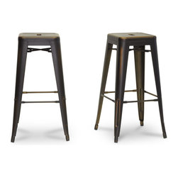 """Baxton Studio - Baxton Studio French Industrial Modern Bar Stool in Antique Copper (Set of 2) - We didn't think a piece of furniture could possess such a skill as talent until we met these spectacular seats. Cafe bar chairs? Industrial bar stools?  Minimalist modern bar stools? You decide, because we think this design is handy enough to be all of the above.  This Chinese-built steel stackable bar stool is finished with a powder-coating of antique copper.  Tidy up quickly and effortlessly with a swipe of a damp cloth.  Non-marking plastic feet help protect sensitive flooring.  The stool is fully assembled. The French Industrial Collection includes counter stools, bar stools, and dining chairs in a selection of colors including bronze, gunmetal, antique copper, and white (each sold separately). Product dimension:17""""Wx17""""Dx30.375""""H , seat dimension:12""""Wx12""""Dx30.375""""H"""