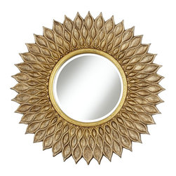 "Lamps Plus - Traditional Sunflower 36"" Wide Antique Gold Wall Mirror - This decorative sunflower wall mirror features a textured frame in antique gold finish with gray and black glazes. Generously beveled glass adds a handsome detail. Inviting texture and finish will complement a wide range of home decor styles from traditional to rustic Asian and more. Polyurethane frame. Sunflower wall mirror. Antique gold finish. Gray and black glaze. 1"" bevel. Mirror glass is 16 1/2"" wide. 36"" wide. 1 1/2"" deep. Hang weight 12 pounds.  Sunflower wall mirror.   Polyurethane frame.  Antique gold finish.   Gray and black glaze.   1"" bevel.   Mirror glass is 16 1/2"" wide.   36"" wide.   1 1/2"" deep.  Hang weight 12 pounds."