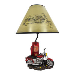 Zeckos - Memory Lane Retro Motorcycle 19 Inch Table Lamp - This awesome table lamp features a vintage motorcycle parked in front of a gas pump. Measuring 19 inches tall, including the Harley V-Rod print 12 inch diameter shade, the lamp is a wonderful decorative accent for motorcycle enthusiasts. It uses regular sized light bulbs up to 60 watts.