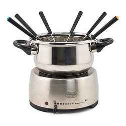Nostalgia Products - Electric Fondue Pot - Stainless steel home fondue pot perfect for chocolate or cheese fondue. Adjustable temperature control. Cool touch handles. Cord storage under base. Capacity: 2 liter. Total wattage: 1200 W. 90 days warrantyThe Electric Fondue Pot is a fun and stylish way to serve hors d'oeuvres, entrees and desserts. Make delectable cheese dips for bits of bread and fruit or try decadent chocolate dessert fondues. Creatively and communally cook morsels of meat and seafood in a variety of oils and broths. The color coded forks make it easy for guests to serve themselves and the classic, stainless steel finish of this pot makes it a great fit for any decor.