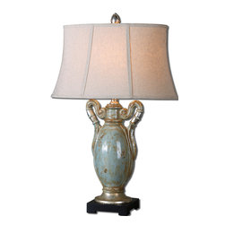 Uttermost - Francavilla Crackle Blue Table Lamp - Greek urn meets oval bell-shaped linen shade, and together they create a fantastic table lamp.  A heavily antiqued crackle blue ceramic with rust distressing and aged silver leaf base makes this traditional lamp a unique addition to your decor. Fitting for a European château or your home sweet home.
